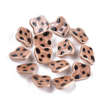 Zinc Alloy Shank Buttons, with Epoxy Resin, Matte Gold Color, SandyBrown, 18.5x20.5x7mm, Hole: 2mm(BUTT-S023-05B-02)
