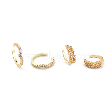 Brass Micro Pave Clear Cubic Zirconia Cuff Earrings Sets, Golden, 15x3mm, inner diameter: 12mm; 13x4mm, inner diameter: 10mm; 2pairs/set(EJEW-I249-01G)