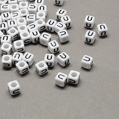 6mm Black Cube Acrylic Beads