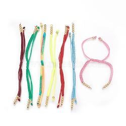fabrication de bracelets de perles en cordon tressé en nylon, avec des perles en laiton, plaqué longue durée, véritable plaqué or, couleur mélangée, 10-1 / 4 (26 cm) ~ 11-5 / 8 (29.6 cm)(BJEW-F360-F)