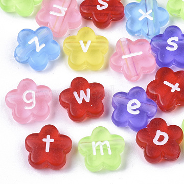 Transparent Spray Painted Acrylic Beads, Flower with Letter, Mixed Color, 11x11x4mm, Hole: 1.8mm(X-TACR-N009-23)