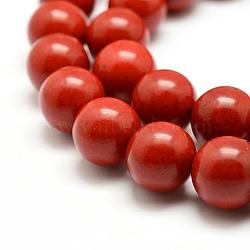 """Chapelets de perles en corail synthétique, teint, rond, rouge, 12mm, trou: 1mm; environ 33 pcs/chapelet, 15.7"""" (40 cm)(X-CORA-J002-12mm)"""