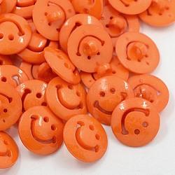 Boutons en acrylique, boutons de couture en plastique, 1-trou, teint, plat rond avec le visage de sourire, orange rouge , 20x3mm, Trou: 3mm(BUTT-E067-A-09)