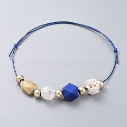 colliers à bretelles réglables, avec des perles acryliques, perles de canne tissées à la main et cordon en polyester ciré, bleu, 15.7 26.7 cm)(NJEW-JN02594-01)