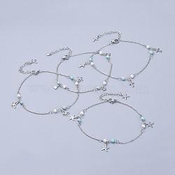 304 bracelets de cheville en acier inoxydable, avec perles de turquoise synthétiques et perle de verre, formes mixtes, couleur inox, 9-5 / 8 (24.5 cm)(AJEW-AN00265)