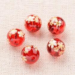 цветочная картина печатные стеклянные круглые бусины, красный, 10 mm, отверстия: 1 mm(GLAA-J089-10mm-A03)