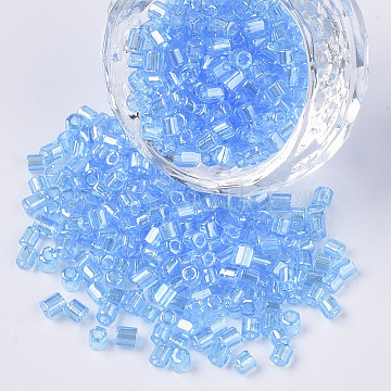8/0 Two Cut Glass Seed Beads, Hexagon, Transparent Colours Luster, DodgerBlue, 2.5~3x2.5mm, Hole: 0.9mm; about 15000pcs/bag(SEED-S033-15A-03)