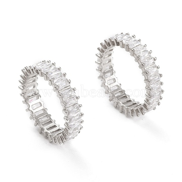 Brass Micro Pave Clear Cubic Zirconia Finger Rings, Real Platinum Plated, Size 7, Inner Diameter: 17mm(KK-D533-01P-B)