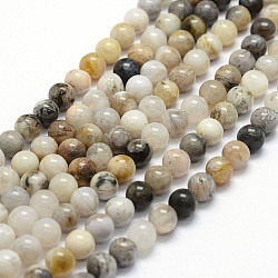 Natural Bamboo Leaf Agate Beads Strands, Round, 6mm, Hole: 0.8mm; about 67pcs/strand, 15.4