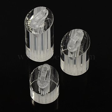 Jewelry Finger Rings Holders Organic Glass Ring Display Stand Sets, Column, Clear, 25x30~50mm; 3pcs/set(RDIS-A002-01B)