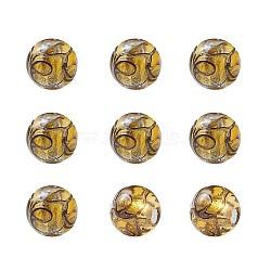 Perles vernissées de sable d'or manuelles , rond, or, 11.5~12mm, Trou: 1.2~2mm(LAMP-TAC0001-01B)