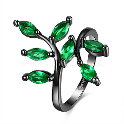 anneaux de zircone cubique, anneaux en laiton du parti, vert, bronze, taille 8, 18.1 mm(RJEW-BB16585-8A)