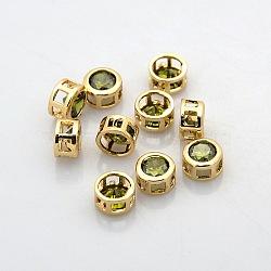 véritables perles de strass en laiton plaqué or 18 k, plat rond, olivine, 7x4 mm, trou: 2x2 mm(KK-J198-09G)