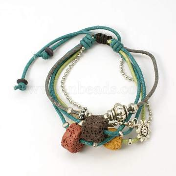 Lava Rock Beads Bracelets, Waxed Cotton Cord with Alloy Findings, Wood Beads and CCB Plastic, Teal, 46mm(BJEW-D262-02)