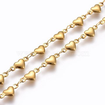 304 Stainless Steel Link Chains, Soldered, Heart, Golden, 10x4.5x2mm(X-STAS-P219-10G)