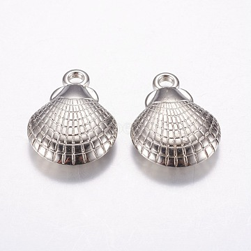 CCB Plastic Pendants, Shell, Platinum, 25.5x19x6mm, Hole: 3mm(CCB-G007-06P)