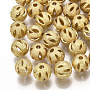 Brass Filigree Beads, Filigree Ball, Round, Textured, Round, Real 18K Gold Plated, 8mm, Hole: 1.6mm