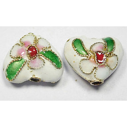Handmade Cloisonne Beads, Heart, White, 12mm, Hole:2mm(X-CLB052Y-1)