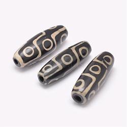 Perles de style tibétain, Perles d'agate naturelles, teints et chauffée, riz, noir, 29~30x9~11mm, Trou: 2.5~3mm(TDZI-G009-F01)
