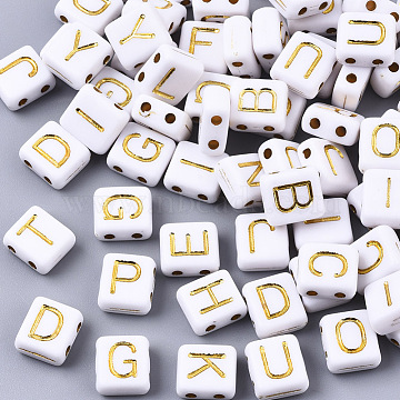 Opaque Acrylic Multi-Strand Links, Rectangle with Letter, Golden Plated, White, 8~9x8x4mm, Hole: 1.5mm(X-PACR-N006-007)