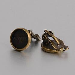 Boucle d'oreille à pince en laiton sertie de cabochons, pour oreilles non percées, sans nickel, bronze antique, 17x12mm, Plateau: 10 mm(KK-J184-05AB-NF)