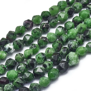 Natural Ruby in Zoisite Beads Strands, Faceted, Round, 6~6.5x5.5mm, Hole: 1mm; about 63pcs/strand, 15.16''(38.5cm)(G-L552O-06-6mm)