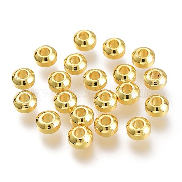 Brass Beads, Long-Lasting Plated, Flat Round, Golden, 5x3mm, Hole: 2mm(KK-P189-09G)