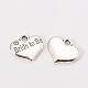 Wedding Theme Antique Silver Tone Tibetan Style Heart with Bride to Be Rhinestone Charms(X-TIBEP-N005-10A)-1
