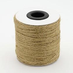 Corde de chanvre, chaîne de chanvre, ficelle de chanvre, 2 pli, pour la fabrication de bijoux, Pérou, 1 mm; 100 m / rouleau; 6 rouleaux / sac(OCOR-E005-01A)