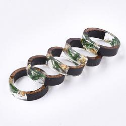 кольца из эпоксидной смолы и черного дерева, с сухой травой, Золотая фольга, зеленый, 17.5 mm(RJEW-S043-03C-02)