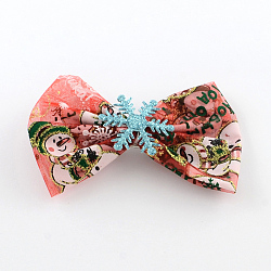 Christmas Organza Bowknot Alligator Hair Clips, with Iron Clips, IndianRed, Platinum, 65x110mm; clip: 41x7mm(PHAR-R167-22)