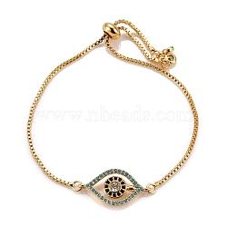 Adjustable Brass Micro Pave Cubic Zirconia Slider Bracelets, Bolo Bracelets, Evil Eye, Colorful, Golden, Inner Diameter: 2-1/2 inches(6.5cm)(X-BJEW-JB05471)