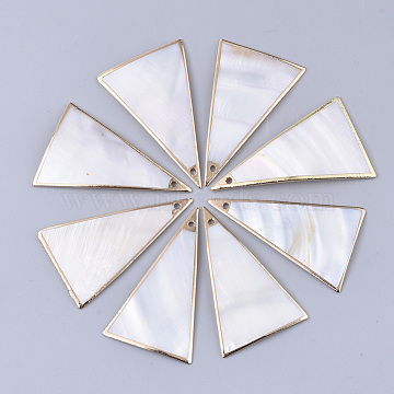 Electroplate Freshwater Shell Big Pendants, for DIY Jewelry Making, Edge Golden Plated, Triangle, Seashell Color, 46~51x30~32x1.5mm, Hole: 1.2mm(X-SHEL-S276-66)