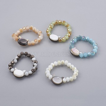 Electroplate Glass Strech Rings, with Shell, Cat Head, Mixed Color, Size: 10, 20mm(RJEW-JR00237)