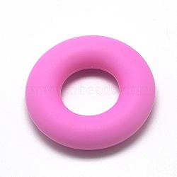Billes de silicone environnementalistes de qualité alimentaire, perles à mâcher pour les jouets de dentition, Diy soins infirmiers colliers faisant, donut, hotpink, 42x9mm, Trou: 20mm(SIL-Q006-16)