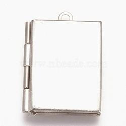 Pendentifs médaillon en 316 acier inoxydable, breloques cadre de photo pour colliers, livre, couleur inoxydable, 26.5x19x5mm, Trou: 1.5mm(STAS-L203-34P)