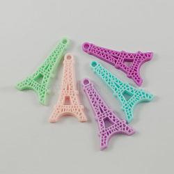 Résine tour eiffel pendentifs, couleur mixte, 41x22x4mm, Trou: 3mm(X-RESI-A1043-M)