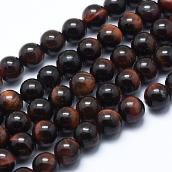 Natural Tiger Eye Bead Strands, Dyed & Heated, Round, Grade AB+, 8mm, Hole: 1.2mm; about 48pcs/strand, 14.7inches(37.5cm)