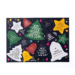 Christmas Hang Tags Sheet, Christmas Hanging Gift Labels, for Christmas Party Baking Gifts, Mixed Shapes, Colorful, 25.5x18cm(X-DIY-I028-01)
