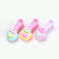Kits d'accessoires de cheveux pour beaux enfants, Pinces à cheveux en alligator en plastique, avec de la résine de tomate, couleur mixte, 37mm; 3 pcs / sac; 10 sacs / groupe(OHAR-S193-09)
