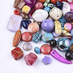 banc acrylique perles et pendentifs, formes mixtes, couleur mélangée, 7~23x4~17x3~17 mm, trou: 1.2~7 mm(SACR-T346-13)