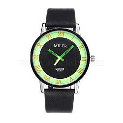 Высококачественный светящийся мужской сплав искусственная кожа кварцевые наручные часы, салатовый, 250x20 мм; головка часы: 47x43x9 мм(WACH-L032-02)