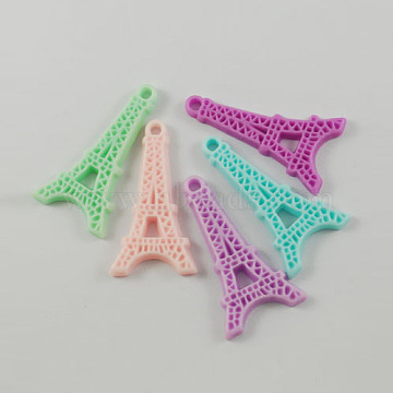 Resin Eiffel Tower Pendants, Mixed Color, 41x22x4mm, Hole: 3mm(X-RESI-A1043-M)