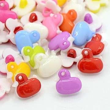 Lovely Duck Buttons, ABS Plastic Button, Mixed Color, 13.5x13.5mm; about 400pcs/bag(FNA1496)
