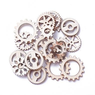 12mm AntiqueWhite Gear Wood Pendants