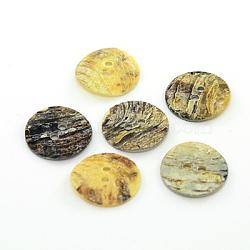 boutons de nacre, bouton shell akoya, plat rond, couleur mélangée, 15x1 mm, trou: 1.5 mm(SHEL-J001-M10)