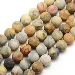 Frosted Natural Crazy Agate Round Bead Strands, Crazy Agate, 10mm, Hole: 1mm; about 37~39pcs/strand, 14.9~15.6inches