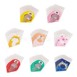 Sacs en plastique imprimés, avec de l'adhésif, couleur mixte, 10x7cm; diamètre intérieur: 7x7cm; 50pcs / couleur, 400 pièces / kit(PE-PH0001-02)