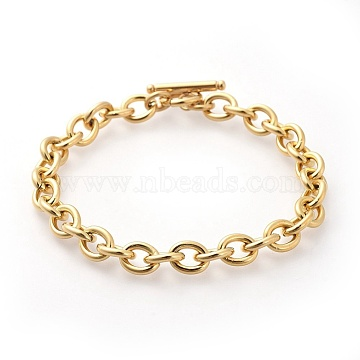 304 Stainless Steel Cable Chain Bracelets, with Toggle Clasps, Golden, 8-5/8 inches(22cm), 8mm(X-BJEW-G618-04G)