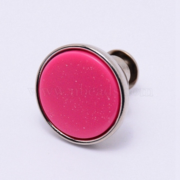 Alloy Jeans Buttons, with Resin, Garment Accessories, Flat Round, Fuchsia, 16x15mm, Pin: 1.2mm, Hole: 1.2mm(PJ-TAC0003-01P-01)